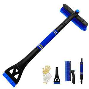 "Tenozek 31.5"" Extendable Snow Brush with Squeegee,Ice Scraper,3 in 1 Car Snow Scraper and Brush with Foam Grip 360°Pivoting & Detachable Snow Removal for Car Auto SUV Truck (Blue)"