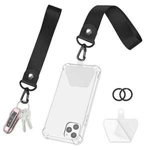 takyu Wrist Lanyard, 2 Pack Cell Phone Lanyard Strap with Connector and Key Rings, Keychains Lanyard for Keys Wristlet Keychain for Women (Black Black)