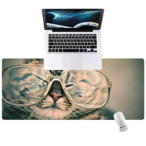 "Hunthawk Large Desk Mat, Cat in Glasses Mouse Pad, Desktop Home Office School Cute Decor Big Extended Pretty Desk Pad for Gaming Laptop Computer Accessories 35.4""x15.7""x0.1"""