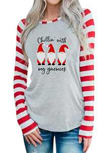 MYHALF Chillin with My Gnomies T-Shirt Women Gnomies Graphic Shirt Casual Striped Long Sleeve Tops