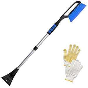"Tenozek 39"" Snow Brush and Extendable Ice Scraper with Ergonomic Foam Grip Heavy Duty ABS, PVC Brush for Cars, Trucks, SUVs (Blue)"