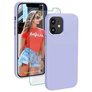 PROBIEN Compatible with iPhone 12/12 Pro Case 6.1 inch, Liquid Silicone Shockproof Phone Case with [Tempered Screen Protector], Gel Rubber Full Body Drop Protection Cover 2020-Light Blue