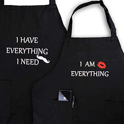 Apron Couples, YIKA Cooking Kitchen Aprons Set: Waterproof Apron for Women Men, with Adjustable Neck Strap with Extra Long Ties, 2 Pockets (Black)