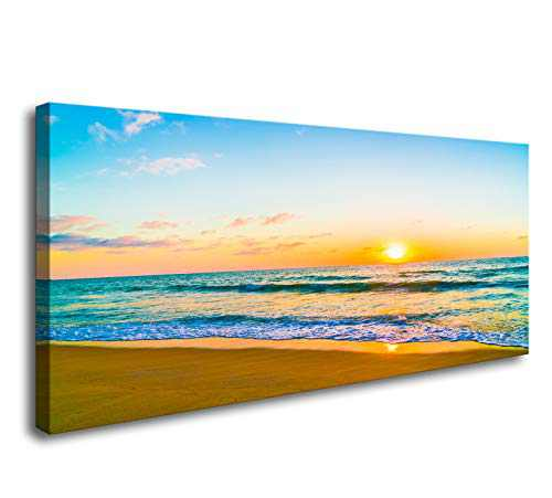 DZL Art S74662 Canvas Prints Wall Art Beautiful Sunset with Sea and Beach Painting Nature Pictures Wall Art Canvas Prints Painting for Living Room Bedroom Decor Office Wall Decor