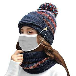 Fleece Lined Winter Hats for Women Knit Beanie Hat Scarf Mask Set Warm Soft Slouchy Skull Cap with Pom Pom (Navy)