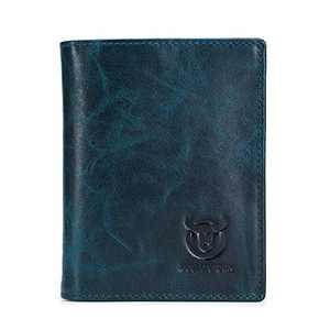 BULLCAPTAIN Men's Retro Leather Wallets with Large Capacity with RFID Function for Safe QB027YL (Peacock Blue)