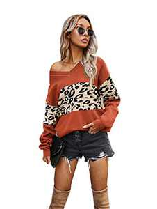 Women's Casual Long Sleeve Sweater for Women V Neck Leopard Print Color Sweater Comfy Cuffed Loose Fit Knit Lightweight Soft Pullover(U5WWSY03-red-s)