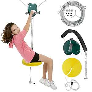 Zipline Kits for Kids 65 FT Backyard Zip Line Set with Adjustable Seat, Non-Slip Handles, Stainless Steel Cable Holds Up to 400 Lbs