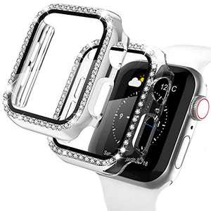 Recoppa Apple Watch Case with Screen Protector for Apple Watch 38mm Series 3/2/1, 2 Pack Bling Crystal Diamond Ultra-Thin Bumper Full Cover Protective Case for Women Girls iWatch Silver/Clear