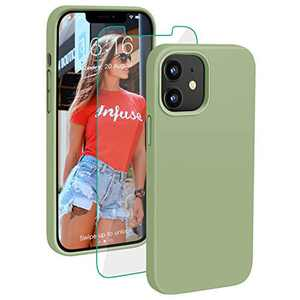 PROBIEN Compatible with iPhone 12/12 Pro Case 6.1 inch, Liquid Silicone Shockproof Phone Case with [Tempered Screen Protector], Gel Rubber Full Body Drop Protection Cover 2020-Matcha Green …