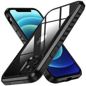"""Mastten Case Compatible with iPhone 12 Case,Compatible with iPhone 12 Pro Case 6.1"""" 2020, Military Grade Drop Tested, Metal Anodized Aluminum Edge Frame with Clear Back Cover,Black"""