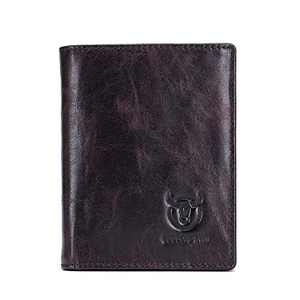 BULLCAPTAIN Men's Retro Leather Wallets with Large Capacity with RFID Function for Safe QB027YL (Magic Purple)