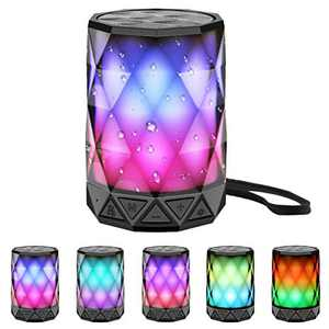 LED Portable Bluetooth Speakers with Lights, LFS Night Light Waterproof,Speakers Color Change Computer Speaker,Mic TF Card TWS Support for iPhone Samsung Gaming Christmas (Waterproof(PRO))