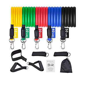DRAGONHOO Exercise Resistance Bands Set Men Home Gym Stretch Training Workout Bands (A)