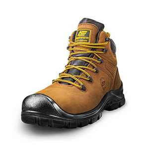 """AEGISWARM 6"""" Steel Toe Boots for Men, Safety Waterproof Non Slip Leather Protection Footwear Indestructible Mens Industrial and Construction Work Boots 13"""