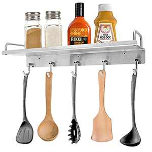 YUMORE Spice Rack Wall Mount, Stainless Steel Spice Rack Shelf Organizer with 5 Hanging Utensil Hooks, Seasoning Rack with Guard Bar for Kitchen Pantry, Brushed Nickel