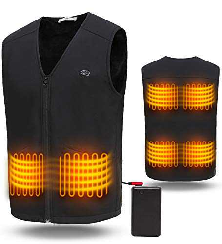 ADITOMO Heated Vest Comfortable Heating Vest with Safe Battery and 6 Heating Zones in 3 Heating Level for Women and Men Outdoor Activities(Black)