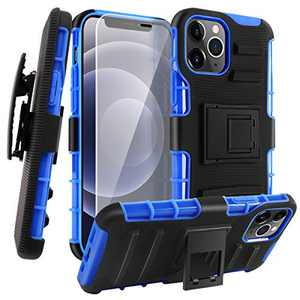 Designed for iPhone 12 Case/Designed for iPhone 12 Pro Case 6.1 Inch Double Layer Phone Holster Case Combo Rugged Case Built-in Support Phone Case with Clip (Blue & Glass Screen Protector)