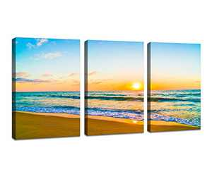 DZL Art S74634 Canvas Prints Wall Art Beautiful Sunset with Sea and Beach Painting Nature Pictures Wall Art Canvas Prints Painting for Living Room Bedroom Decor Office Wall Decor