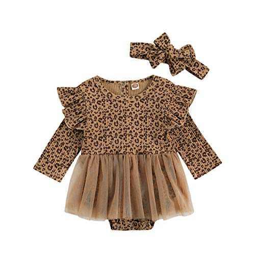 YHLZBNH 2Pcs Newborn Baby Girl's Knitted Leopard Ruffle Flying Sleeve Romper with Gauze Skirt + Headband Set Bodysuit Onesie Outfits (Knitted Leopard, 90)
