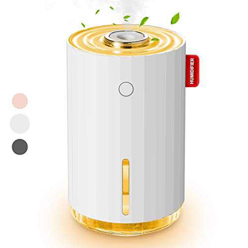 Small Humidifier, USB Personal Desktop Humidifiers, Car Humidifier, Mini Humidifier for Plants Bedroom Office, Auto Shut Off Whisper-Quiet Operation, Two Spray Modes(White)