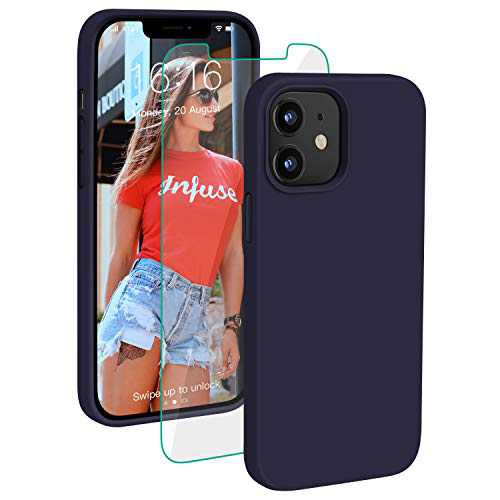 PROBIEN Compatible with iPhone 12/12 Pro Case 6.1 inch, Liquid Silicone Shockproof Phone Case with [Tempered Screen Protector], Gel Rubber Full Body Drop Protection Cover 2020-Navy Blue …
