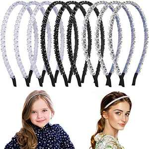 9 Pieces Rhinestone Hair Band Crystal Headband Non-Slip Beaded Hairband Bling Bling Hair Bands Thin Hair Hoop Wedding Headpiece Hair Accessories for Women Girls, 3 Colors