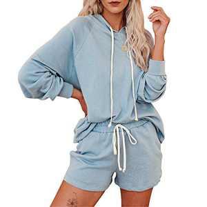 Women's 2 Pieces Pajama Set Hoodie Shorts Sweatsuit Set Pullover Tracksuit PJ Set (Blue, M)