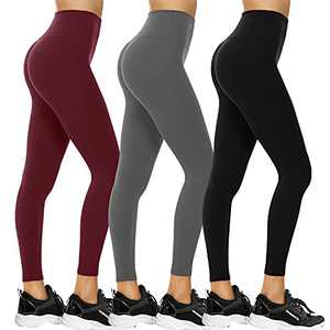 3 Pack Leggings for Women - High Waisted Non See Through Tummy Control Soft Pants for Yoga Running