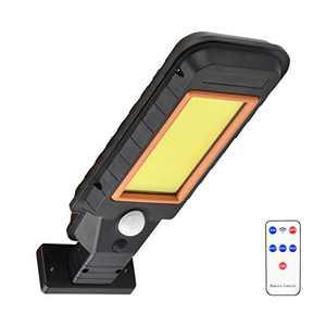 Qanlone Romote Control Solar Street Lights, Motion Sensor Wall Light 600lm Outdoor Solar Lighting with 3 Modes for Garden, Street, Deck, Fence, Patio, Path (128COB)