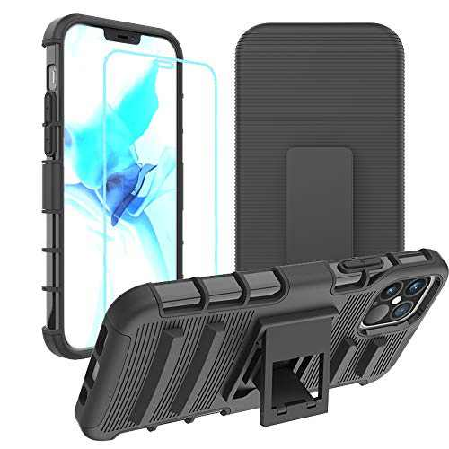 Designed for iPhone 12 Case/Designed for iPhone 12 Pro Case (6,1'') Double Layer Phone Holster Case Combo Rugged Case Built-in Support Phone Case with Clip (Black & Glass Screen Protector)