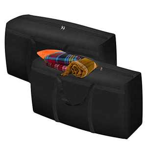 """GEMITTO Heavy Duty Storage Bag, Extra Large Moving Tote, Backpack Carrying Bag with Handles & Zipper for Quilts Cushions Out-of-season Clothes Christmas Tree 35.4""""x11""""x18.9""""(2 Bags)"""