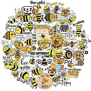 50 PCS Honey Bee Inspirational Stickers, Vinyl Waterproof Reward Motivational Stickers for Teens, Kids, Youth, Adults, Cute Positive Words Stickers for Hydro Flasks, Water Bottle, Laptop, Skateboard
