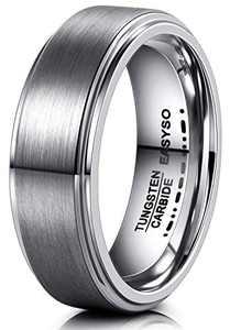 EASYSO 8MM Wedding Bands for Men, Tungsten Rings Matte Black Rose Gold, Engraved Morse Code Love Comfort Fit (all steel, 9)