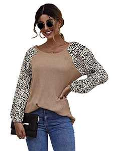 Romwe Women's Long Sleeve Round Neck Leopard Colorblock Causal Cotton Pullover Blouse Khaki X-Small