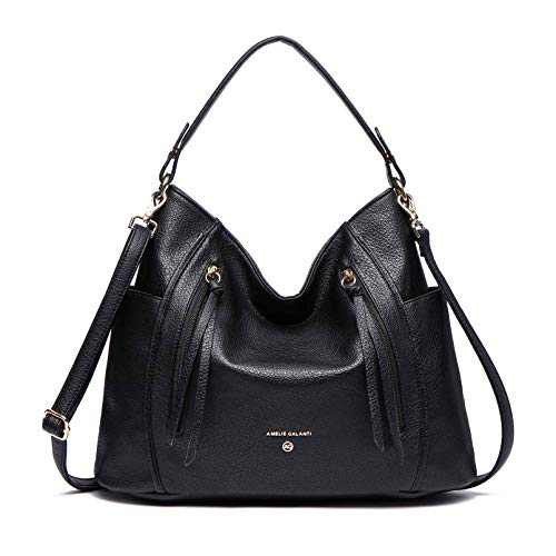 Hobo Purse for Women Leather Crossbody Shoulder Bags Large Tote Bag (BLACK)