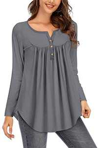 Beauhuty Womens Tops Casual Long Sleeve Henley V-Neck Loose Fit Swing Flowy Tunic Shirt Blouses (Long-Heather Grey,M)