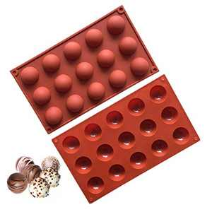 2Pcs Chocolate Molds,Astarexin 15 Holes Small Silicone Candy Mold Baking for Chocolate Cake Truffle Hemisphere Silicone Mold,Dome Baking Mold (B)