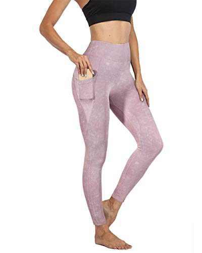 MOSHENGQI Womens Workout Leggings High Waisted Yoga Pants Seamless Tummy Control Leggings with Pocket(S,Purple)