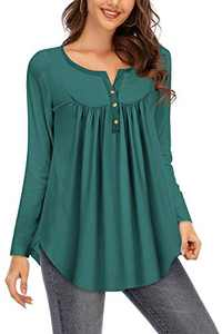 Beauhuty Womens Tops Swing Long Sleeve Henley V-Neck Loose Fit Pleated Tunic Shirt Blouse (Long-Dark Green,XL)