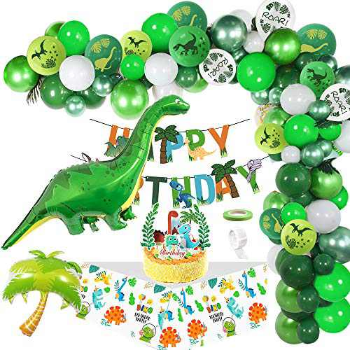 AYUQI Jungle Dinosaur Kid's Party Supplies Decorations - Dinosaur Happy Birthday Banner and Balloons-Dinosaur Set Party Favors Toys for Kids Boys Girls