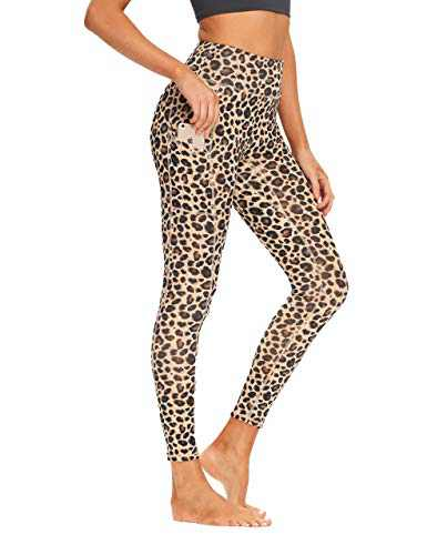 oyioyiyo High Waisted Yoga Pants Tummy Control Athletic Workout Running Leggings with Pockets for Women(PY010-Yellow Leopard-M)