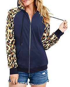 Newshows Women's Casual Long Sleeve Hoodie Color Block Zip-Up Sweatshirt Jacket Coat(Leopard/Navy 02,Small)