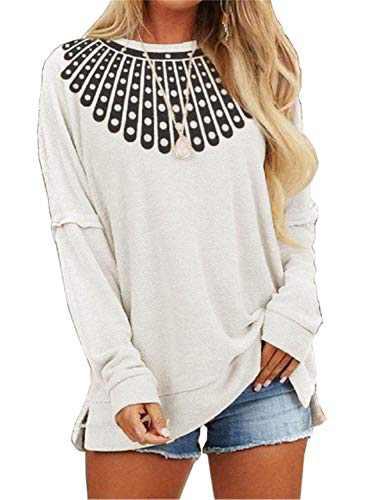 Miiyana Crewneck Oversized Sweatshirt Tunic for Womens Casual Long Sleeve Pullover Shirts White