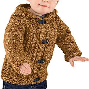 Makkrom Kids Baby Boys Girls Knit Hooded Cardigan Sweater Cable Button Up Winter Warm Toddler Outwear Brown