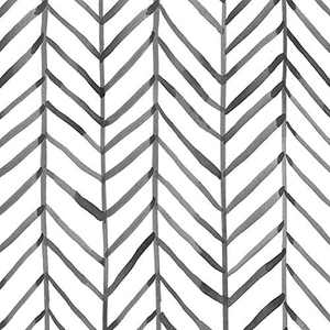 "Baimor Geometric Wallpaper Herringbone Pattern Modern Minimalist Black White Vinyl Self Adhesive Decorative  17.7""x 118"""