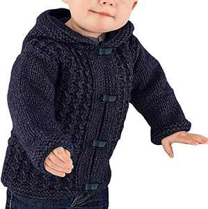 Makkrom Kids Baby Boys Girls Knit Hooded Cardigan Sweater Cable Button Up Winter Warm Toddler Outwear Navy