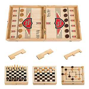 Babymati 4 in 1 Extra Large Fast Sling Puck Game with Three Swappable Gates, Wooden Desktop Ice Hockey Table Game for Kids and Adults, Chess, Checkers, Nine Mens Morris, Foosball Slingshots Game
