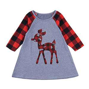 Baby Girl Christmas T-Shirt Gnome Reindeer Plaid Tunic Kids Xmas Pajamas Casual Baseball Tops Holiday Clothes (Reindeer, 5-6X Months)