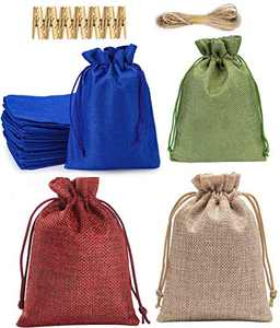 24pcs Burlap Bag with Drawstring, Gift Bags for Wedding Party Favors, Home Decor Supplies (4x5.5 inch)